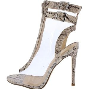 Shoes - Sale❗️Lucite Peep Toe Snake Skin Bootie